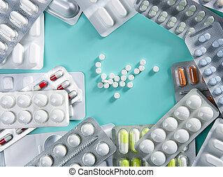 ampolla, médico, píldoras, plano de fondo, farmacéutico