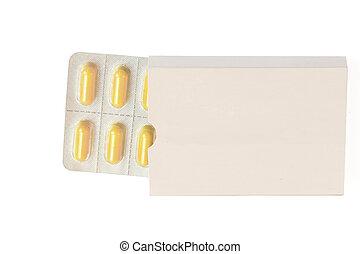 ampolla, paquete, etiqueta, blanco, medicina, blanco, abierto, píldoras, paquete