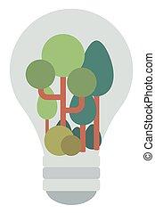 ampoule, à, arbres, intérieur.