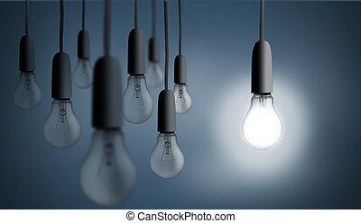 ampoule, éclairage haut, une