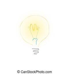 ampoule, blanc, fond jaune
