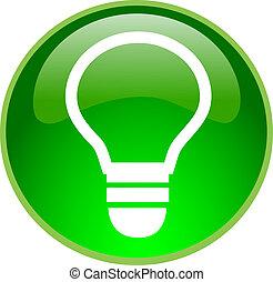 ampoule, bouton, vert