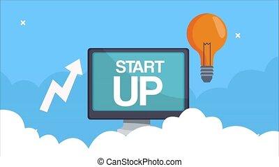 ampoule, bureau, flèche, animation, infographic