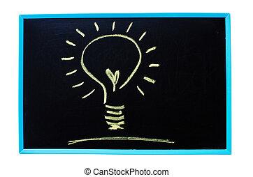 ampoule, comme, idée, concept, par, craie
