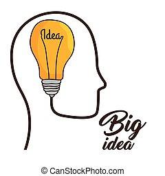 ampoule, concept, idée, lumière, grand