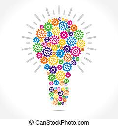 ampoule, conception, engrenage, coloré