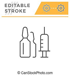 Ampoule editable stroke line icon isolated on white. Vector...