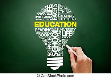 ampoule, education, mot, nuage