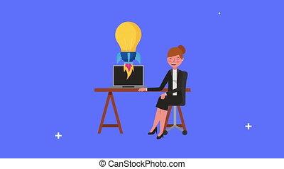 ampoule, femme affaires, bureau, jeune, fonctionnement