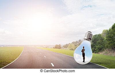 ampoule, femme affaires, intérieur