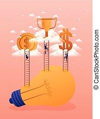 ampoule, femmes affaires, équipe