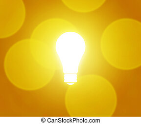 ampoule, fond jaune