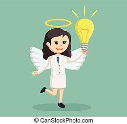 ampoule, grand, ange, femme affaires