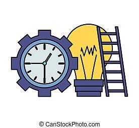 ampoule, horloge, escalier, temps