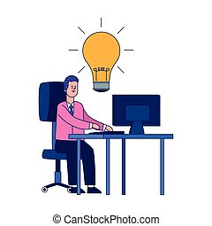 ampoule, icône ordinateur, bureau, lumière, bureau, homme affaires, fonctionnement