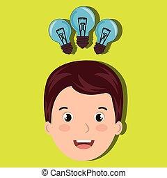 ampoule, idée, étudiant, enfant