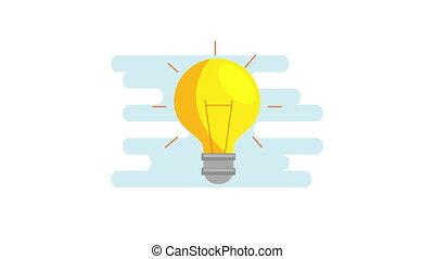 ampoule, idée, icône, animation, lumière