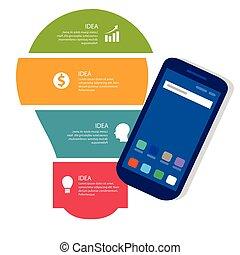 ampoule, idée, info-graphic, business, processus, entiers, couleur, de, smart-phone, gadget, communication, technologie, mobile, appareil