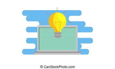 ampoule, idée, ordinateur portable, animation, lumière