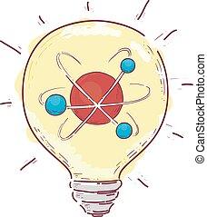 ampoule, illustration, atome