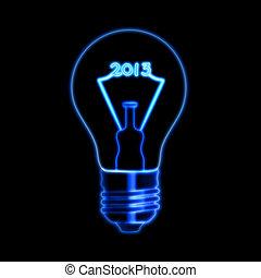 ampoule, incandescent, 2013, année