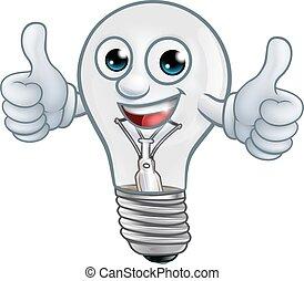 ampoule, lightbulb, dessin animé, lumière, mascotte, caractère