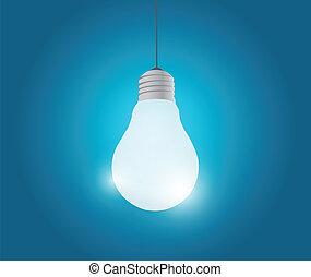 ampoule, lumière, conception, illustration, pendre