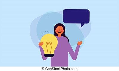 ampoule, lumière, conversation, jeune, femme affaires