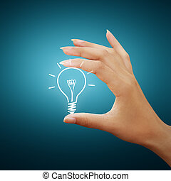 ampoule, lumière, dessin, idée, dans, main