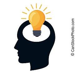 ampoule, lumière, idée, icône