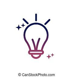 ampoule, média, style, innovation, social, lumière, idée, gradient, icône