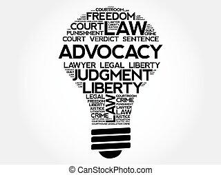 ampoule, mot, advocacy, nuage
