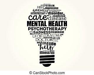 ampoule, mot, santé, mental, nuage