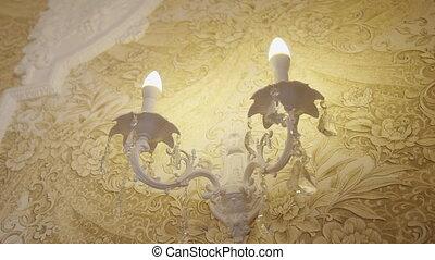 ampoule, noce blanche, vendange, hall., intérieur, lustre, ...