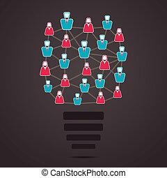 ampoule, social, réseau, gens