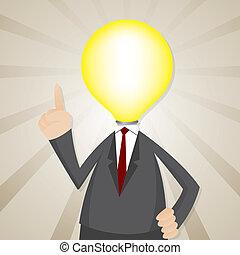 ampoule, tête, dessin animé, homme affaires