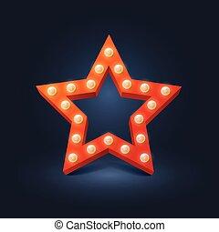 ampoule, vecteur, étoile, retro, rouges