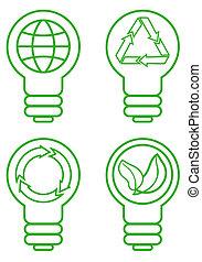 ampoule, vecteur, ensemble, lumière