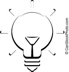 ampoule, vecteur, icône