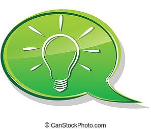 ampoule, vert, bulle
