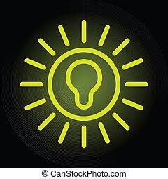 ampoule, vert, icône