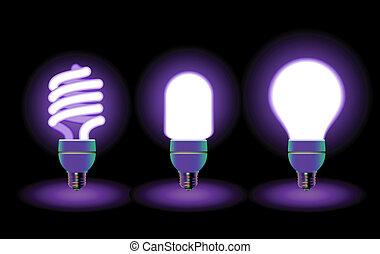 ampoules, économie, lumière, énergie, -, vecteur, editable, fluorescent