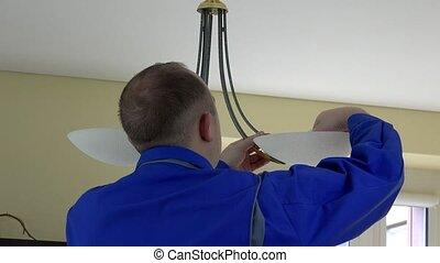 ampoules, électricien, lumière, dos, chandelier., changer, vue., homme