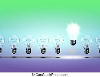 ampoules, électrique, rang
