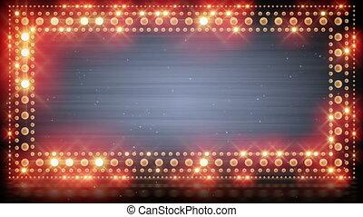 ampoules, cadre, éclairage, clignotant, boucle