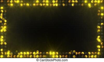 ampoules, cadre, éclairage, jaune, loopable
