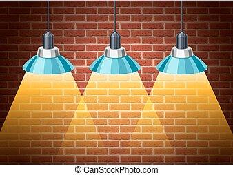 ampoules, classique, mur, lumière, rustique, brique
