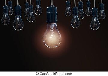 ampoules, concept, bulbs., lumière, créativité, idée, une, sombre, arrière-plan., incandescent, pendre