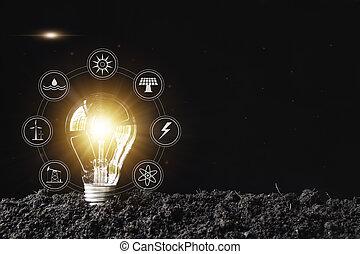 ampoules, concept, bulbs., lumière, créativité, one., incandescent, technologie