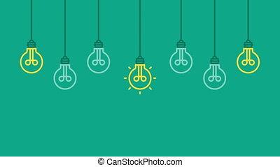ampoules, concept, business, lumière, ideas., peu, fond,...